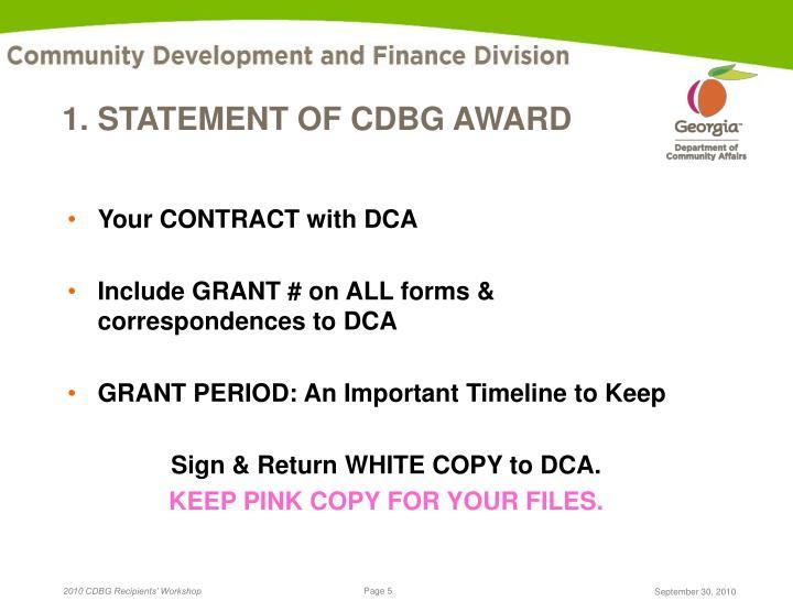 1. STATEMENT OF CDBG AWARD
