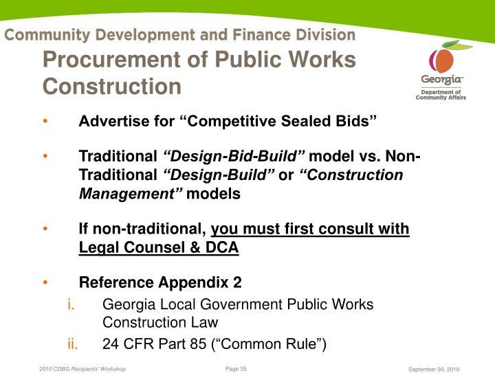 Procurement of Public Works Construction