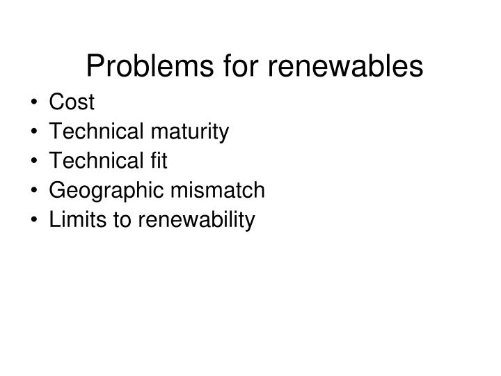 Problems for renewables