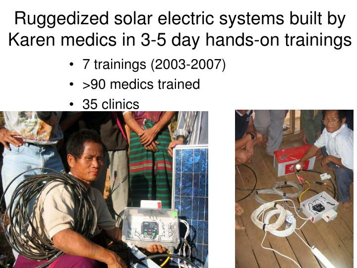 Ruggedized solar electric systems built by Karen medics in 3-5 day hands-on trainings