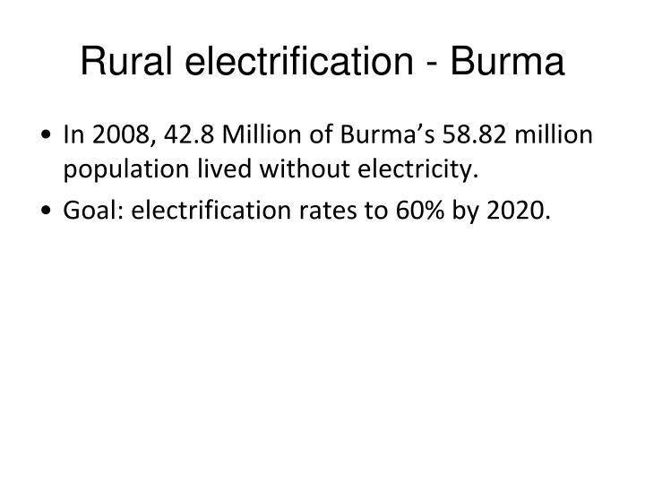 Rural electrification - Burma