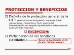 proteccion y beneficios
