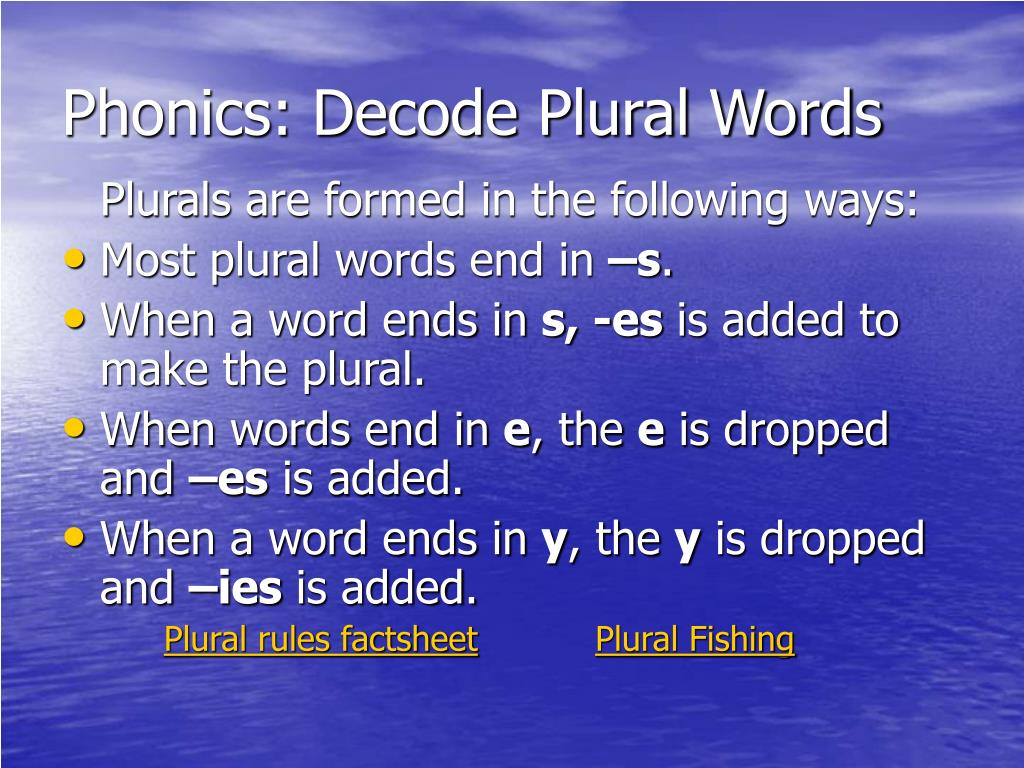 Phonics: Decode Plural Words