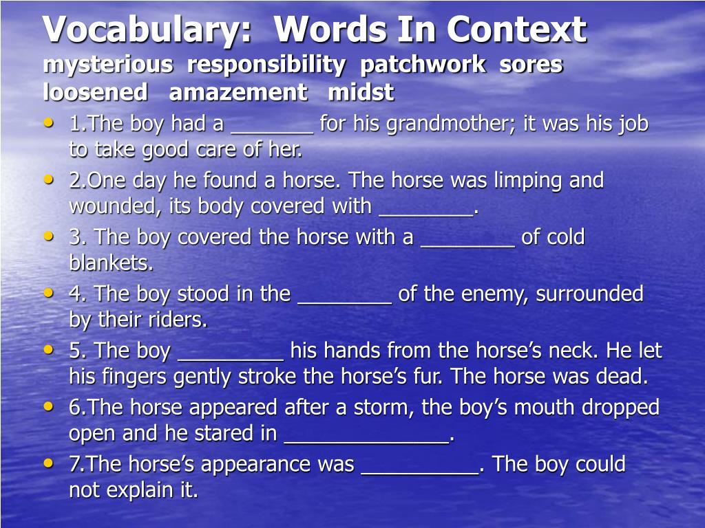 Vocabulary:  Words In Context