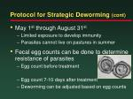 protocol for strategic deworming cont