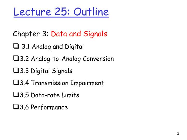 Lecture 25 outline