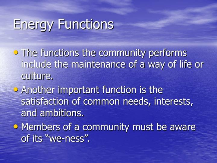 Energy Functions