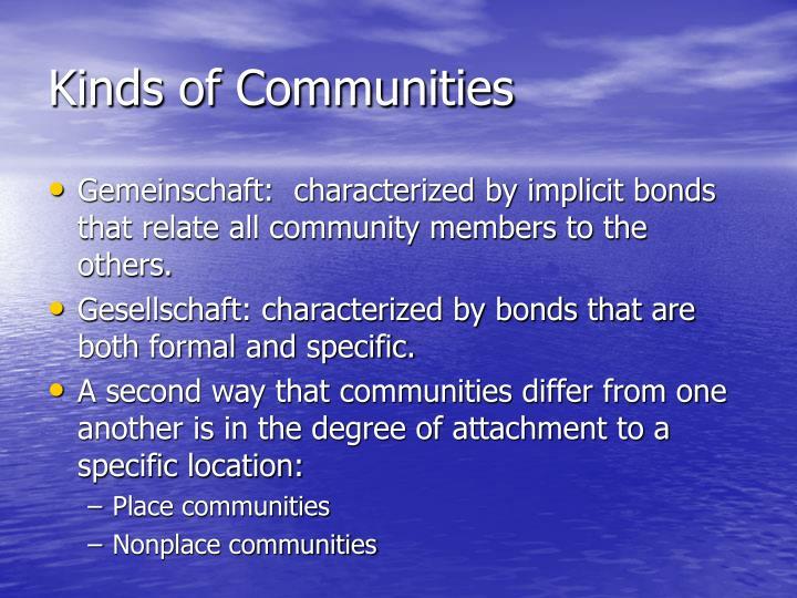 Kinds of Communities
