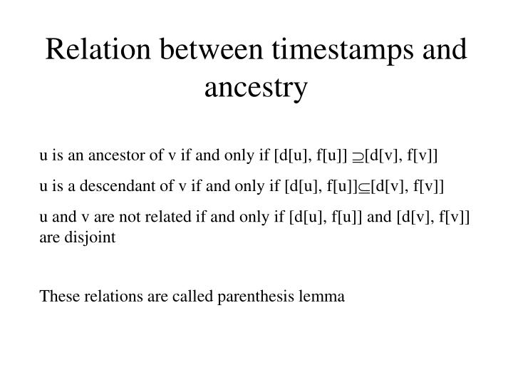 Relation between timestamps and ancestry