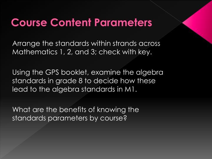 Course Content Parameters
