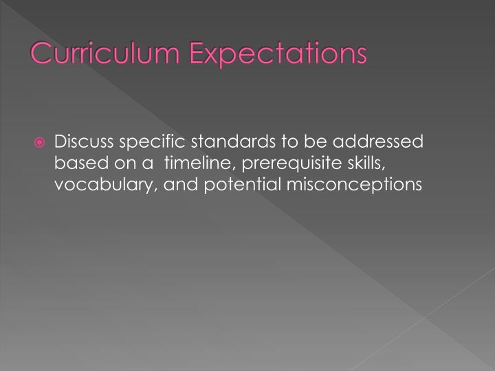 Curriculum Expectations
