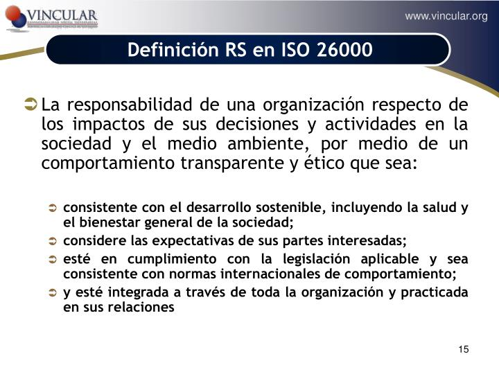 Definición RS en ISO 26000