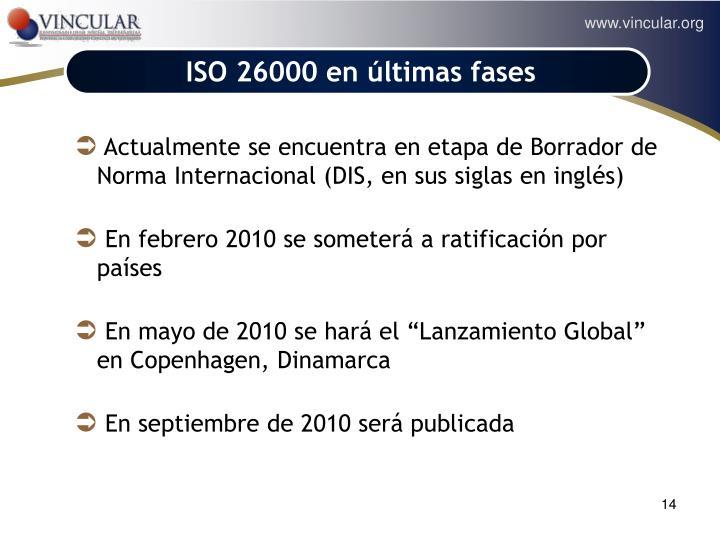 ISO 26000 en últimas fases