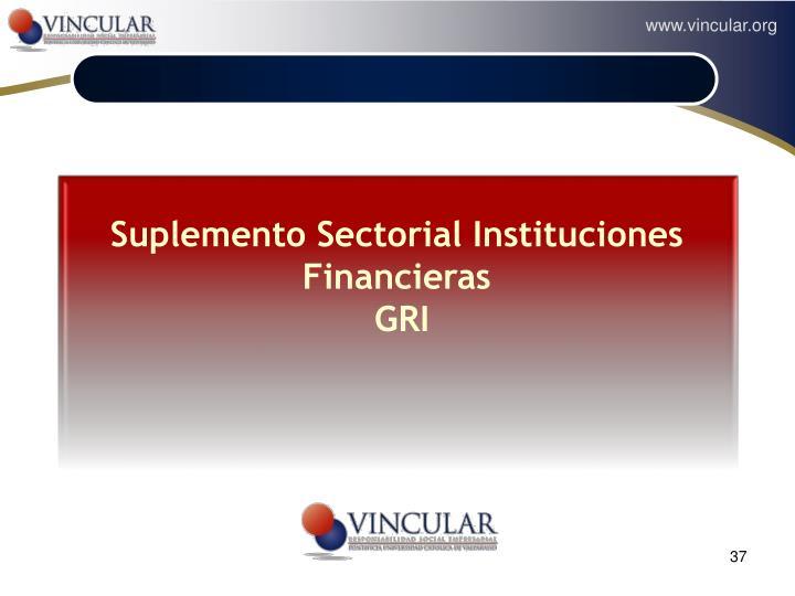 Suplemento Sectorial Instituciones Financieras