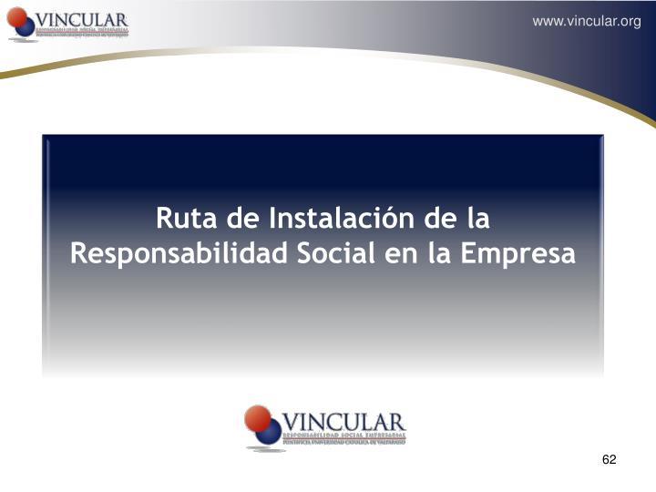 Ruta de Instalación de la Responsabilidad Social en la Empresa