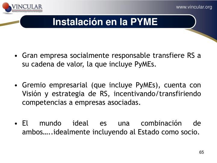 Instalación en la PYME