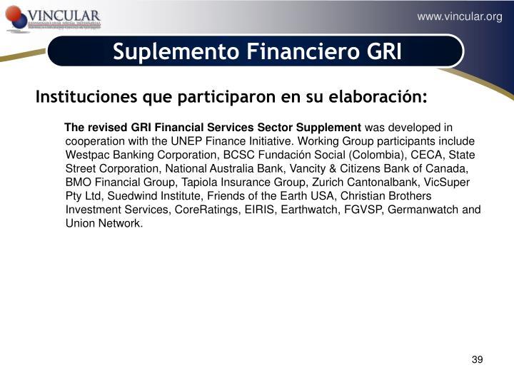 Suplemento Financiero GRI