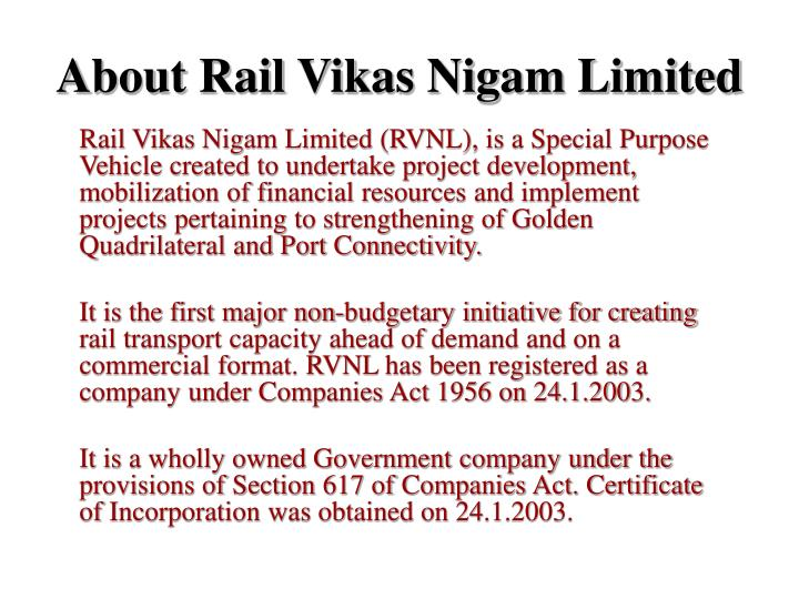 About rail vikas nigam limited