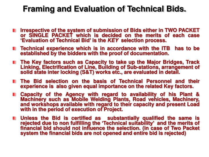 Framing and Evaluation of Technical Bids.