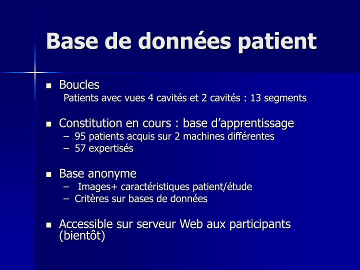 Base de données patient