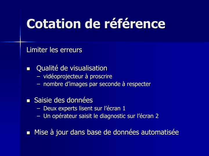 Cotation de référence