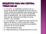 requisitos para una central termo solar