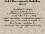 basic bibliography on the elizabethan sonnet john fuller the sonnet london methuen 1972