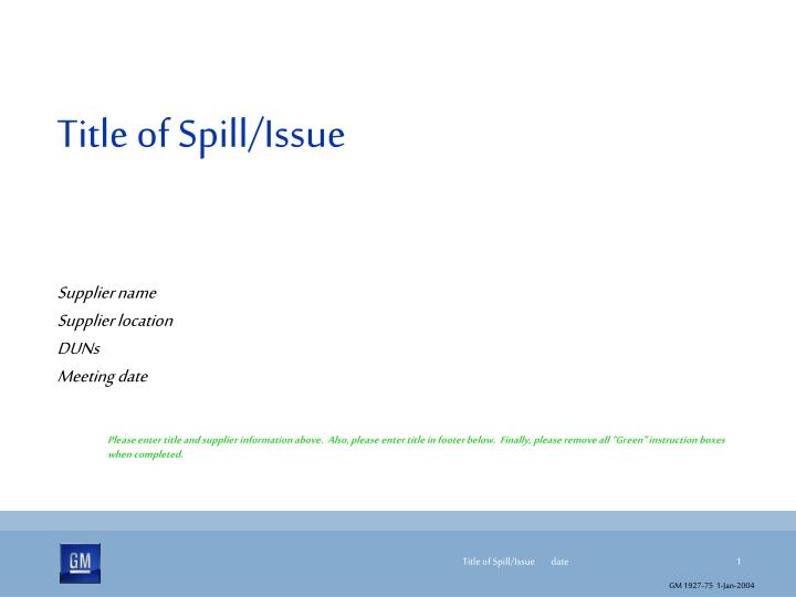 title of spill issue n.
