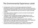 the environmental experience contd2