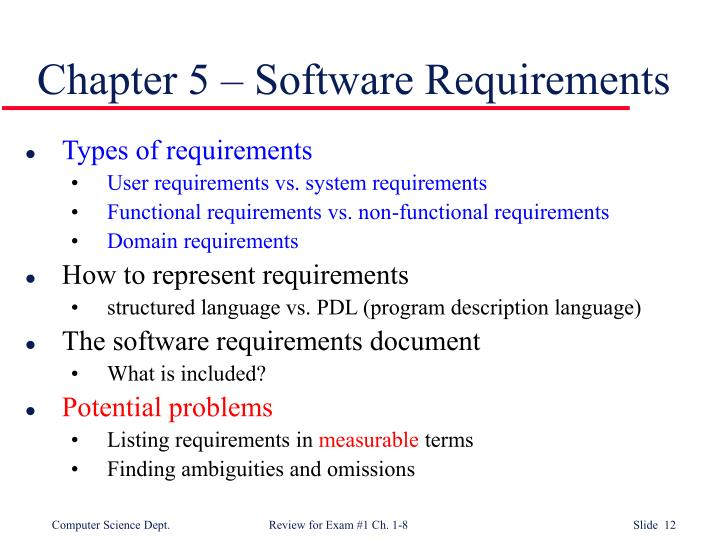 Chapter 5 – Software Requirements