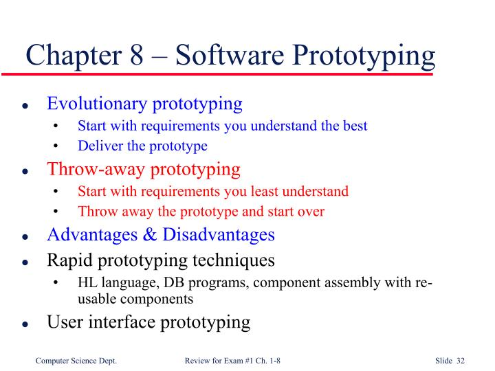 Chapter 8 – Software Prototyping