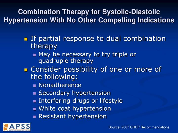 Combination Therapy for Systolic-Diastolic Hypertension With No Other Compelling Indications
