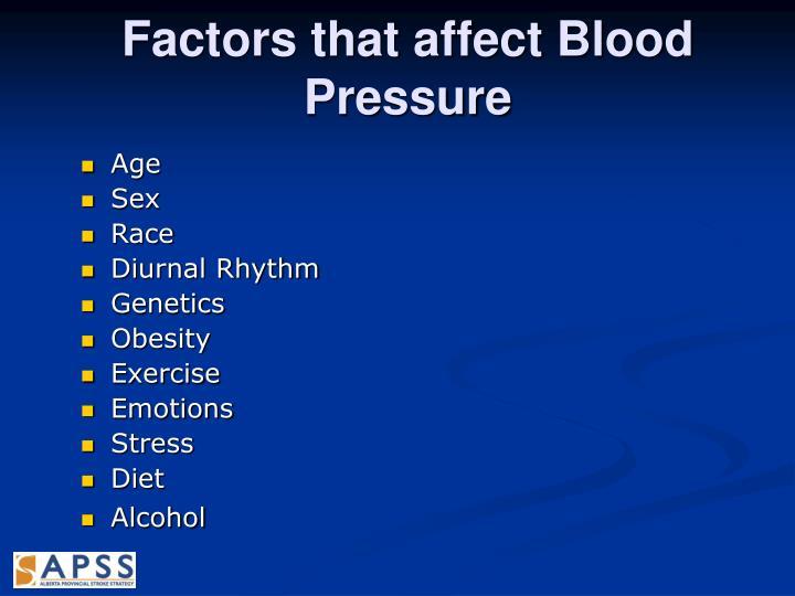 Factors that affect Blood Pressure