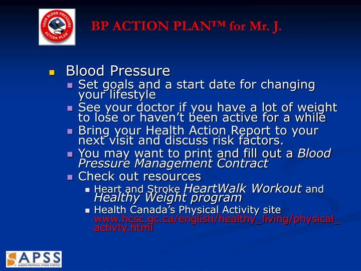 BP ACTION PLAN™ for Mr. J.