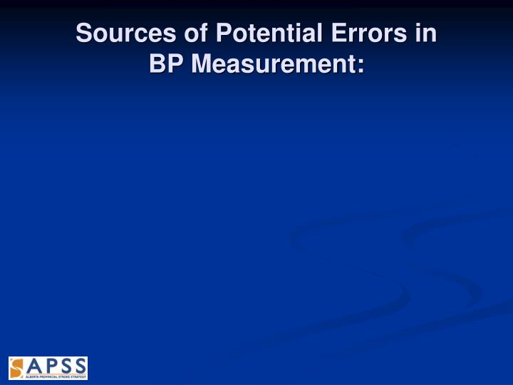 Sources of Potential Errors in