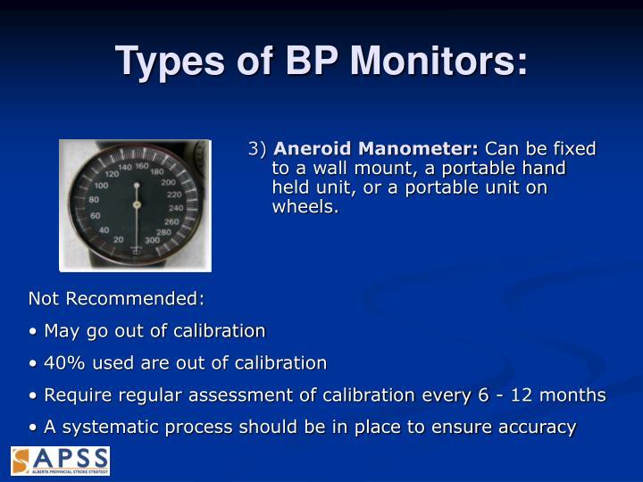 Types of BP Monitors: