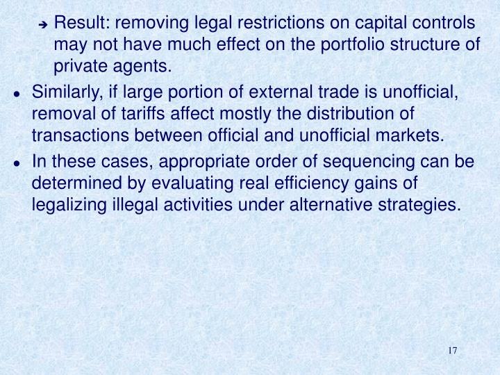 Result: removing legal restrictions on capital controls may not have much effect on the portfolio structure of private agents.