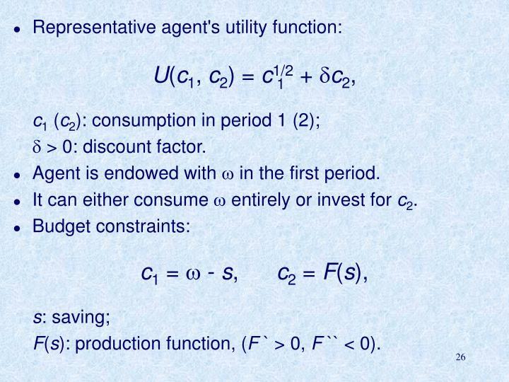 Representative agent's utility function: