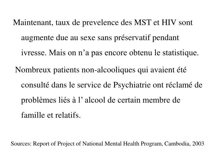 Maintenant, taux de prevelence des MST et HIV sont augmente due au sexe sans préservatif pendant ivresse. Mais on n'a pas encore obtenu le statistique.