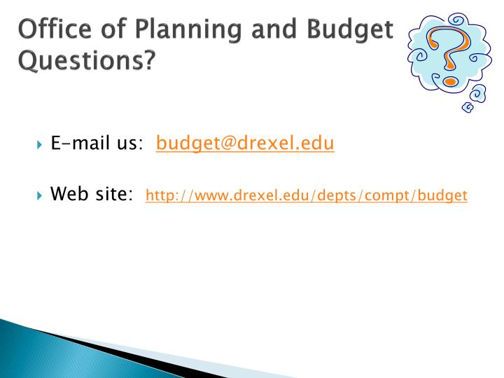 Office of Planning and Budget Questions?