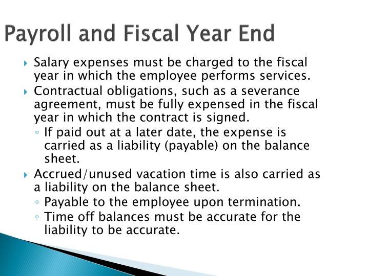 Payroll and Fiscal Year End