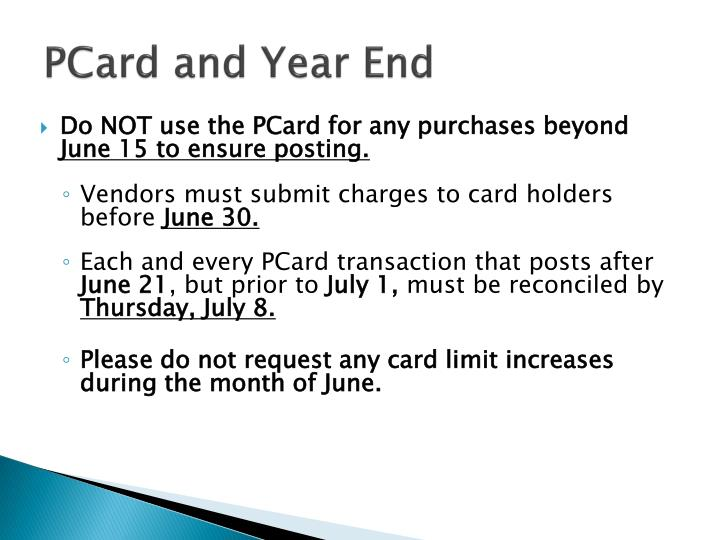 PCard and Year End