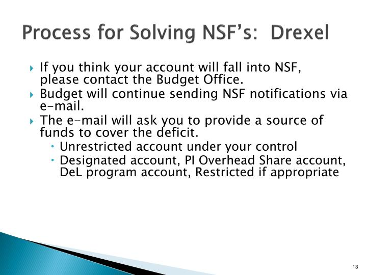 Process for Solving NSF's:  Drexel