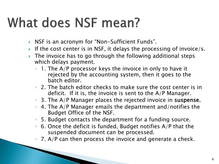 What does NSF mean?