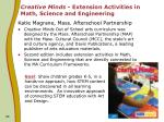 creative minds extension activities in math science and engineering