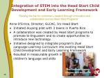 integration of stem into the head start child development and early learning framework