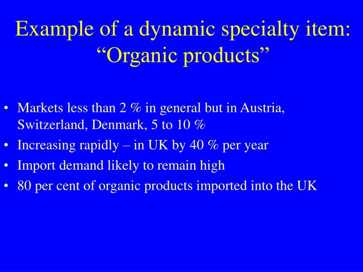 Example of a dynamic specialty item: