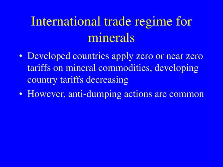 International trade regime for minerals