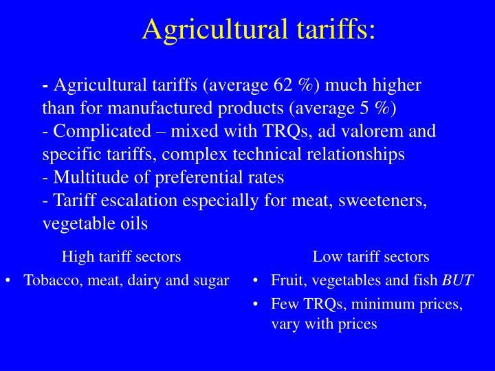 High tariff sectors