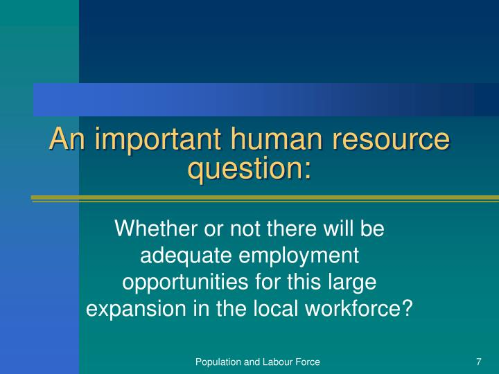 An important human resource question: